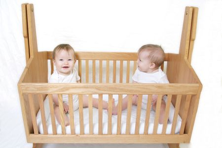 Little Baby set of Twins in crib - only one baby!