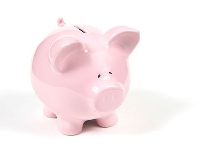 Pink Piggy Bank on isoalted on white background