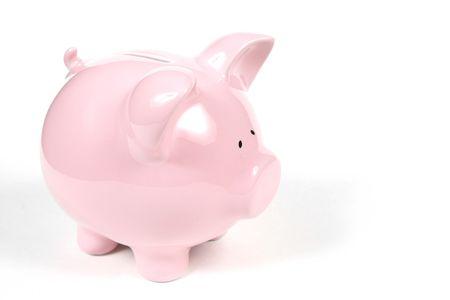 Pink Piggy Bank isoalted op witte achtergrond Stockfoto