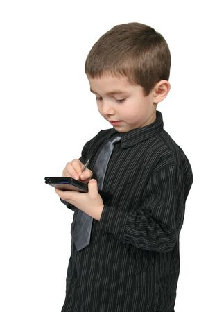 Little Business Man met behulp van een PDA met een witte achtergrond isoated Stockfoto