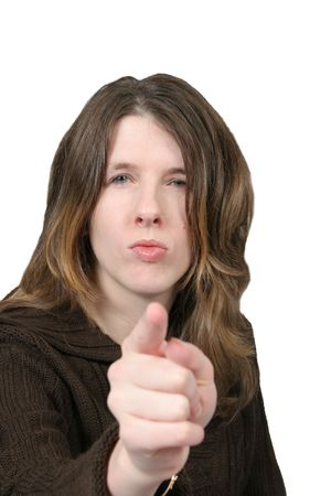 Woman mad and pointing her finger on white background 免版税图像