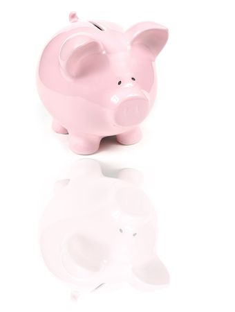 Pink Piggy Bank on isoalted on white background with reflexion