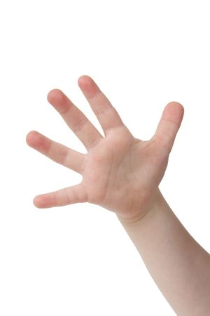 Little child hand with Five finger on white background