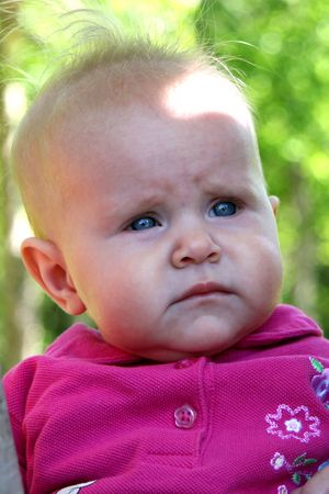 Little Baby Girl closeup on trees in summer Stock Photo - 1354773
