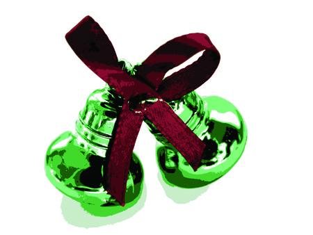 Green Christmas bow on white