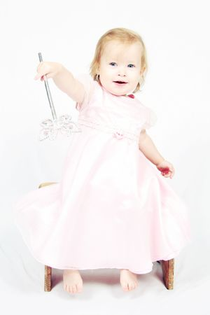 generration: Little Baby Girl in pink dress Stock Photo