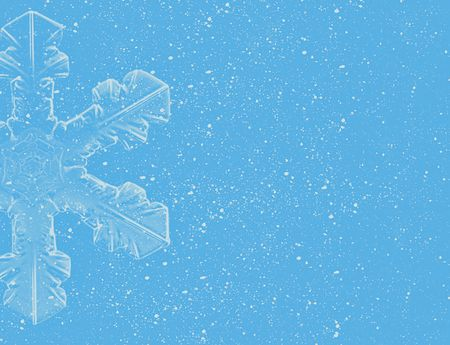 Lite Blue Snowflakes On Blue Background Stock Photo Picture And