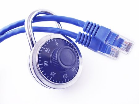 Padlock on two network cables, Stock Photo - 6354340
