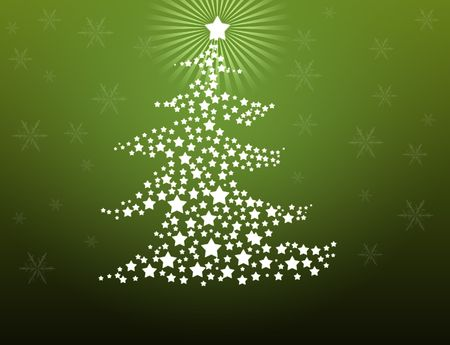 Christmas tree made of stars on green background  photo