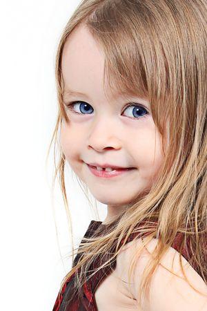 Pretty little girl taken closeup with blue eyes