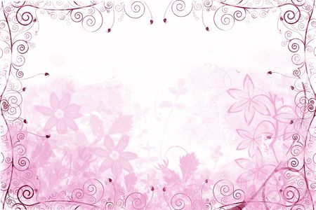 Abstract Flower background with vines and leaves