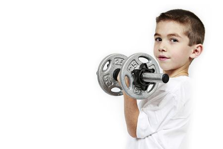 heavy weight: Healthy lifestyle child exercising dumbbell weight