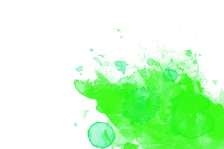 Green Abstract paint on white paper background