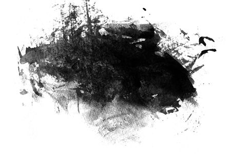 Black abstract paint on white background, white paper Stock Photo