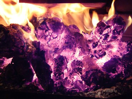 Fire and Flames in fireplace Stock Photo - 6669376