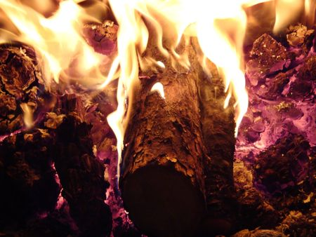 Fire and Flames in fireplace photo