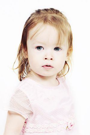 Little Girl in pink dress with white background Stock Photo - 6789906