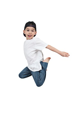 Little boy jumping on isolated white background Stock Photo - 6925679