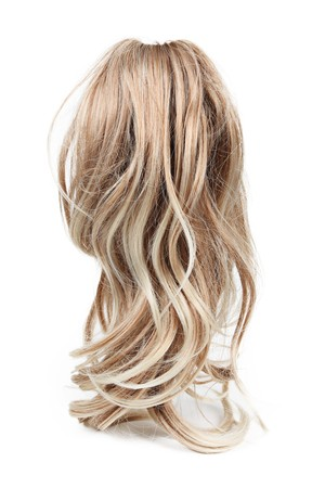 salon background: Wig of long blond hair isolated on white