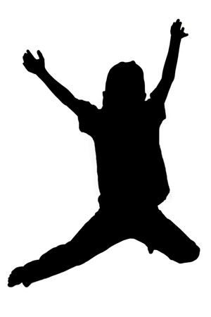 exaltation: Silhouette of boy jumping up in the air