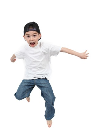 Little boy jumping on isolated white background Stock Photo - 7111671