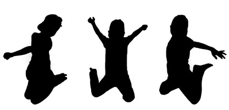 Silhouettes of boy jumping up in the air  photo