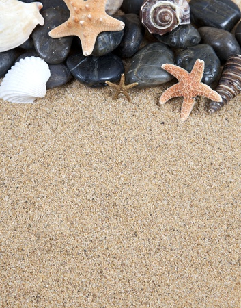 zen spa river rocks and shells on sand photo