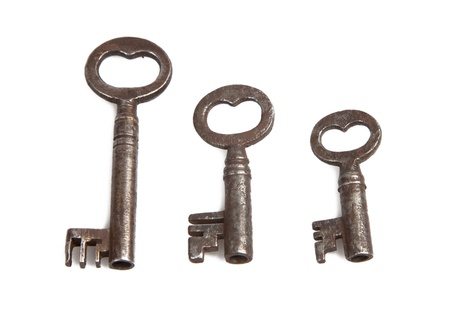 Old Vintage key on white background Stock Photo - 9482065