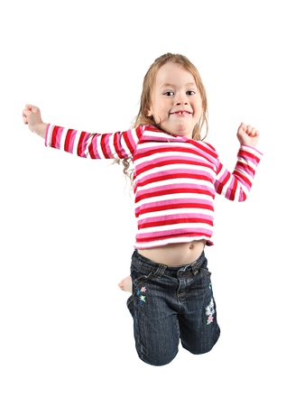 Adorable and happy little girl jumping in air. isolated on white background Stock Photo - 9540595