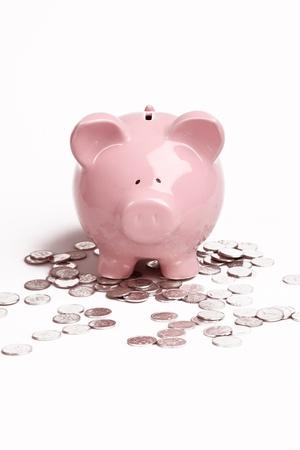 Roze Piggy Bank op geïsoleerde op witte achtergrond met munten