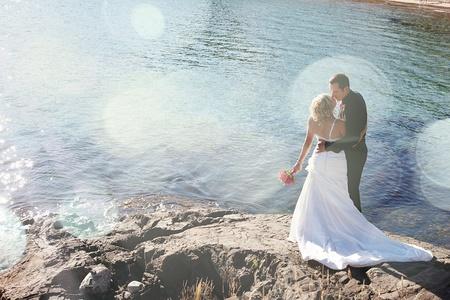 Huwelijk - Bruid en Bruidegom op daar trouwdag Stockfoto