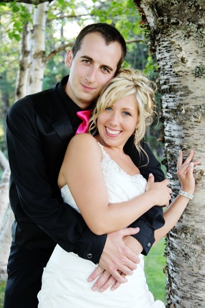 Wedding - Bride and Groom on there wedding day Stock Photo