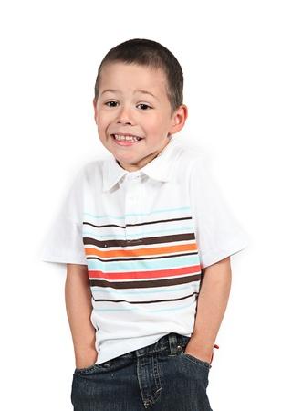 Little boy posing with smile on white Stock Photo - 12010397