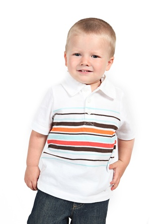 Little boy posing with smile on white Stock Photo - 12010393