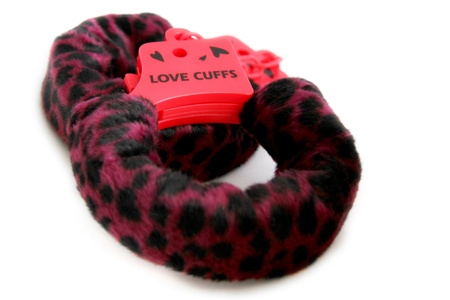 cuffs: Love Cuffs isolated on white background