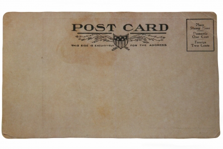 post: Back of Old Post card isolated on white Stock Photo
