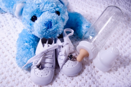 Blue Baby Bear and bottle