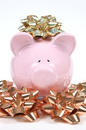 christmas debt: Pink Piggy Bank on isoalted on white background with christmas bows