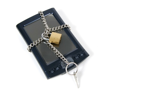 pocket pc: PDA Locked Up for Security,  Isolated on white background