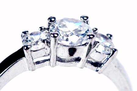 Wedding Ring or Engagement Ring on white photo