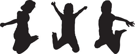 exaltation: Vector Silhouette of boy jumping up in the air