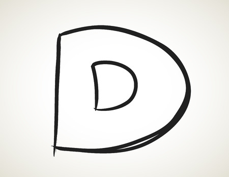 d: hand drawn alphabet, doodle D Stock Photo