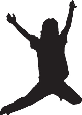 Silhouette of boy jumping up in the air