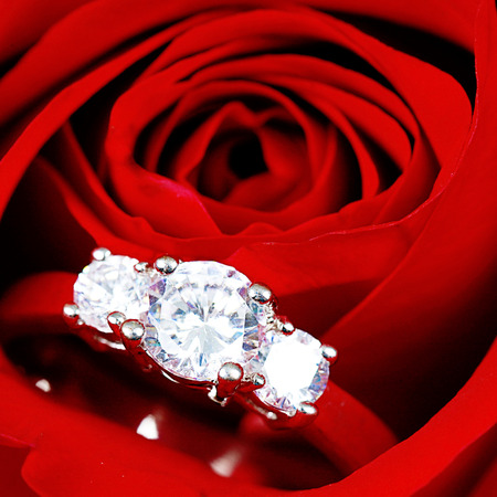 Diamond ring inside red rose taken closeup