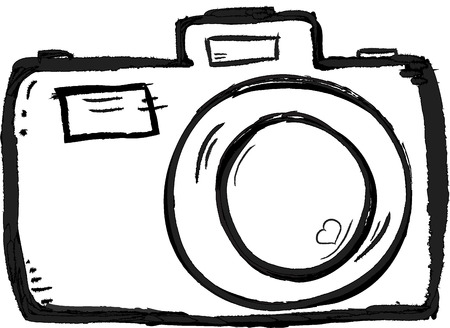 Scribble Hand drawn camera icon vector with heart
