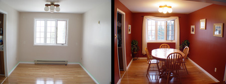 before and after of dining room of house