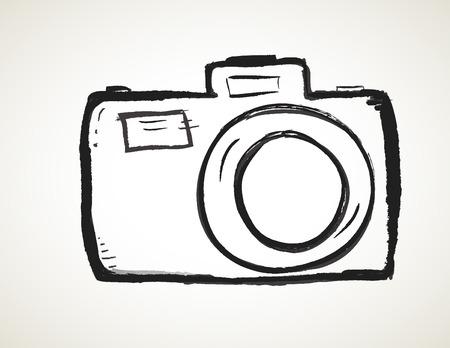 心と手描き下ろしカメラ アイコン ベクトルを落書き