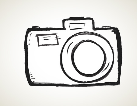 vintage photo: Scribble Hand drawn camera icon vector with heart