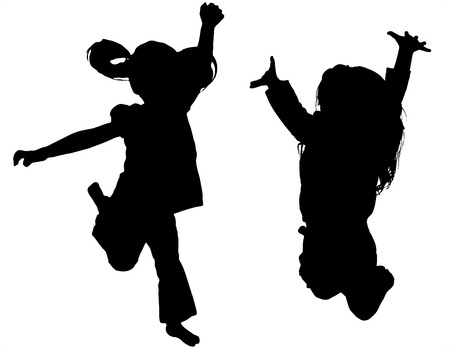 Jumping Child Silhouette on white background Stock Photo