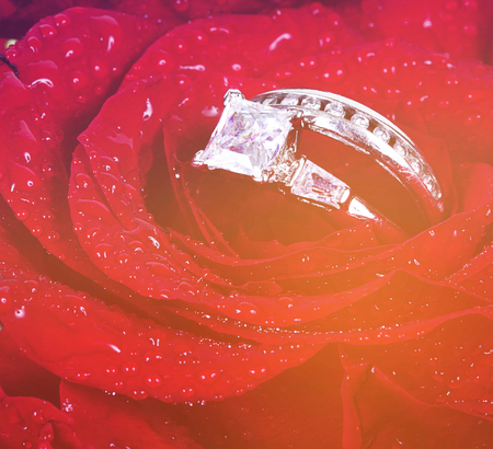 wedding ring in rose with vintage effect photo